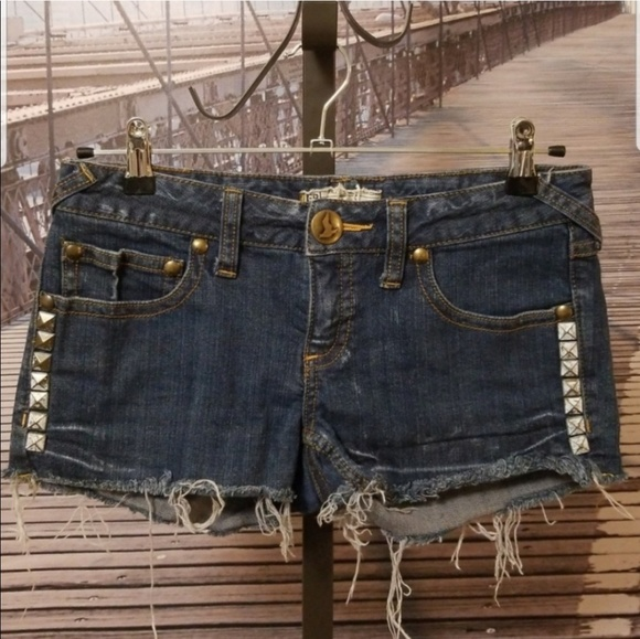 Free People Pants - Free People studded jean denim shorts 27